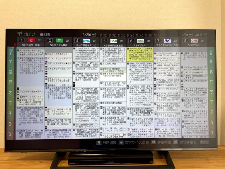 ハイセンス50E6800の番組表